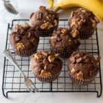 オイルで作るチョコバナナマフィン のレシピと作り方。 料理研究家・フードコーディネーター藤井玲子のレシピと料理写真。れこれしぴ