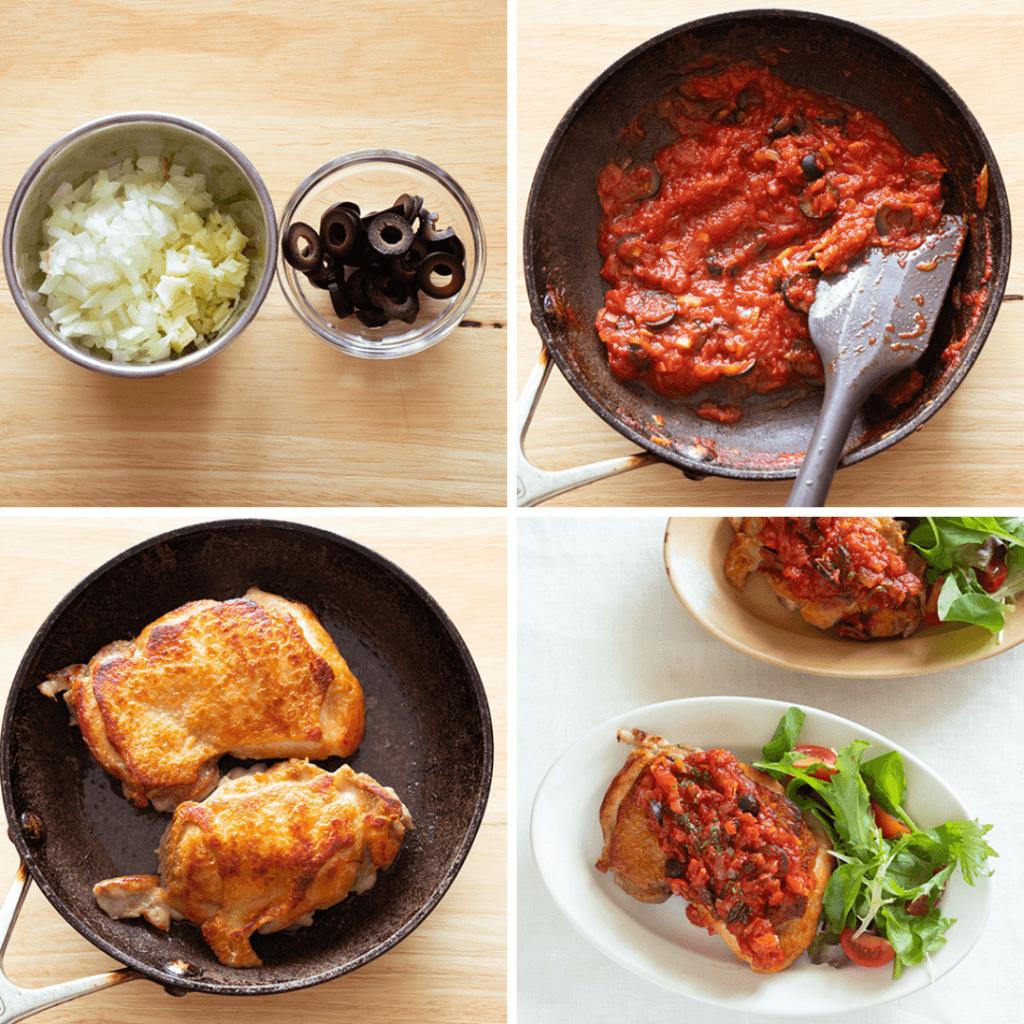 フライパン一つで!トマトソースのチキンソテーのレシピと作り方。 料理研究家・フードコーディネーター藤井玲子のレシピと料理写真。れこれしぴ