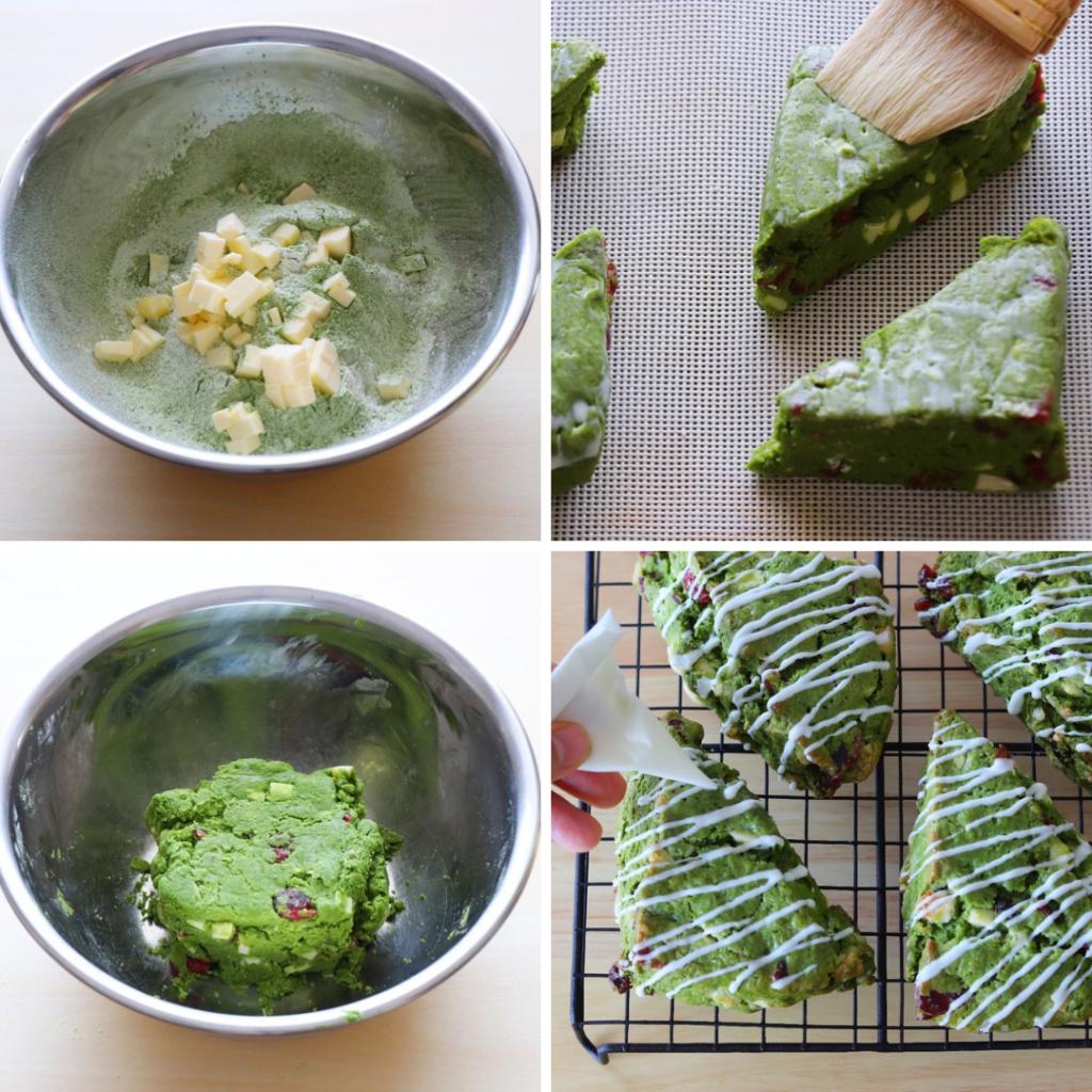 ホワイトチョコとクランベリーの抹茶スコーンのレシピと作り方。 料理研究家・フードコーディネーター藤井玲子のレシピと料理写真。れこれしぴ