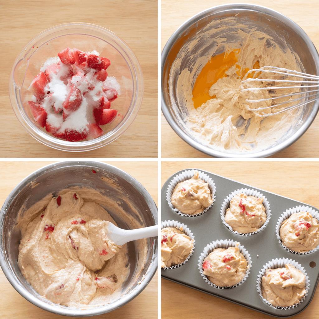 いちごと全粒粉のマフィンのレシピと作り方。スタイリングと写真の撮り方。 料理研究家・フードコーディネーター藤井玲子のレシピと料理写真。れこれしぴ