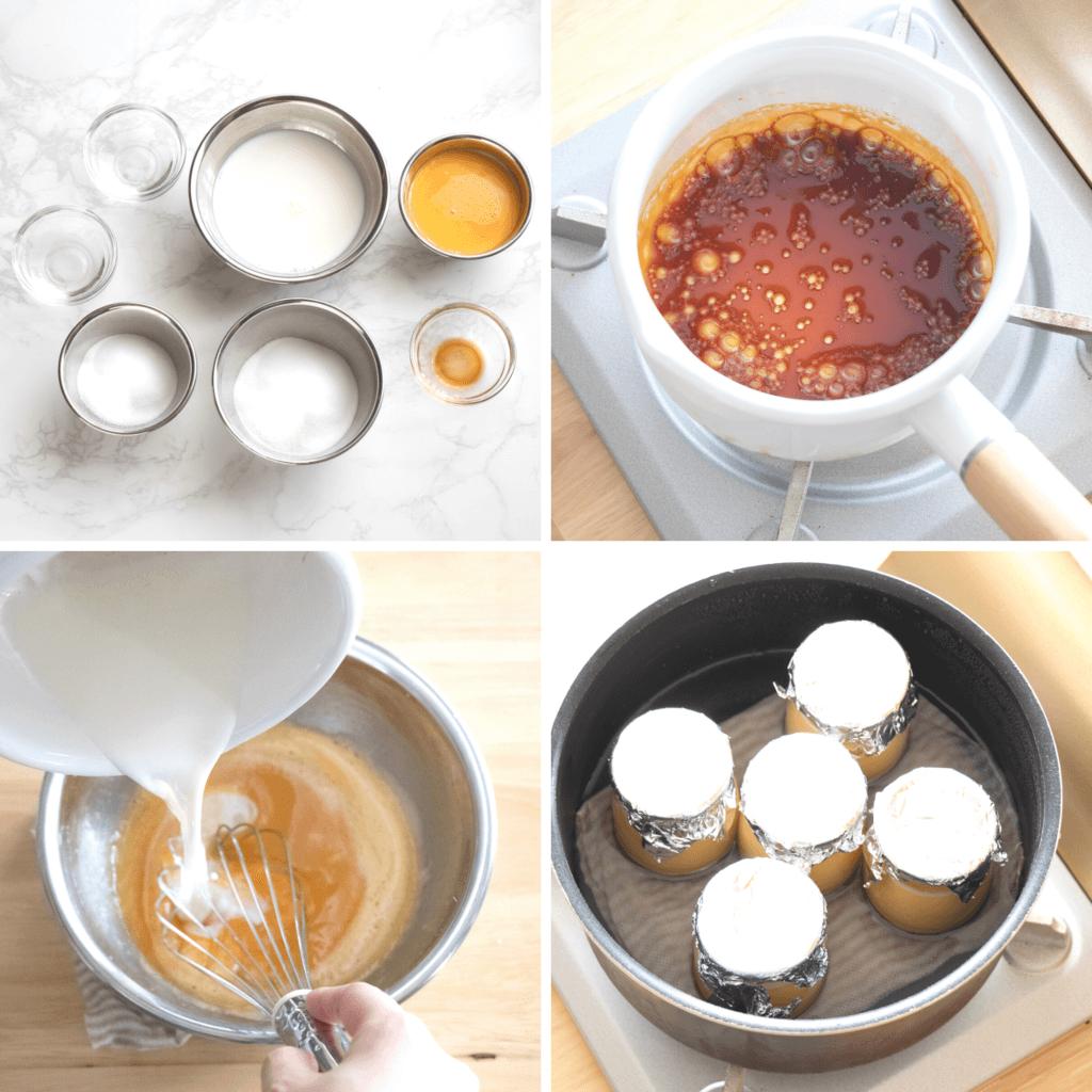 ミルクボトルで♡基本のプリンのレシピと作り方。スタイリングと料理写真の撮り方。 料理研究家・フードコーディネーター藤井玲子のレシピと料理写真。れこれしぴ