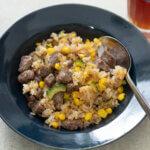 ゴーヤととうもろこしのガーリックライスのレシピと作り方。スタイリングと料理写真の撮り方。 料理研究家・フードコーディネーター藤井玲子のレシピと料理写真。れこれしぴ