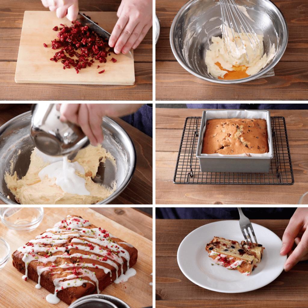 ベリーとヨーグルトのスクエアケーキのレシピと作り方。スタイリングと料理写真の撮り方。 料理研究家・フードコーディネーター藤井玲子のレシピと料理写真。れこれしぴ