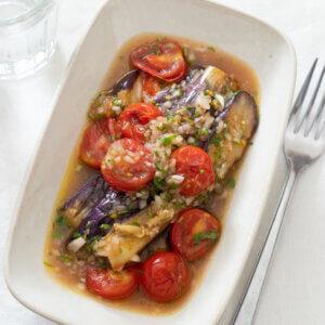 なすとプチトマトのマリネのレシピと作り方。スタイリングと料理写真の撮り方。 料理研究家・フードコーディネーター藤井玲子のレシピと料理写真。れこれしぴ